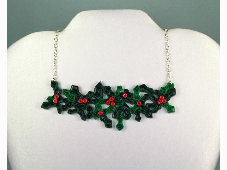 mistletoe necklace, quilling necklace, paper quill necklace, paper quill jewelry