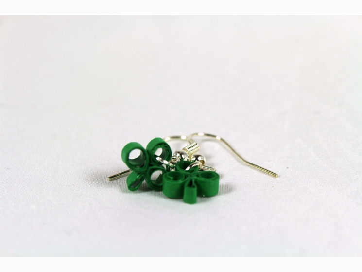 paper earrings, paper quill shamrock, quilling clover, handmade shamrock earring