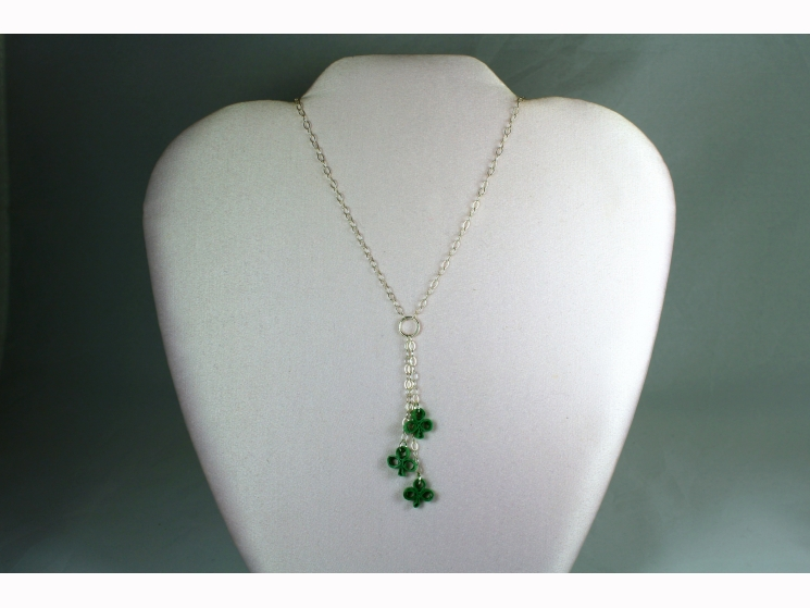 quill clover, st patricks day necklace, st patricks day jewelry, irish necklace