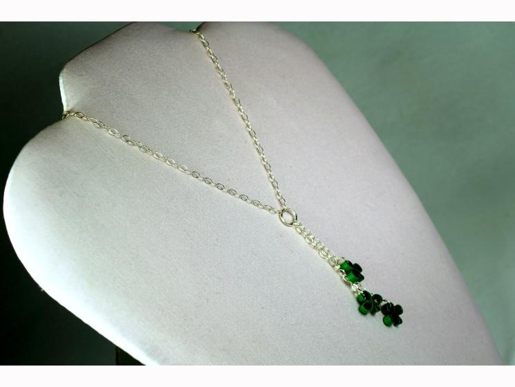 shamrock necklace, tiny shamrocks, shamrock jewelry, quilling shamrock, quilling