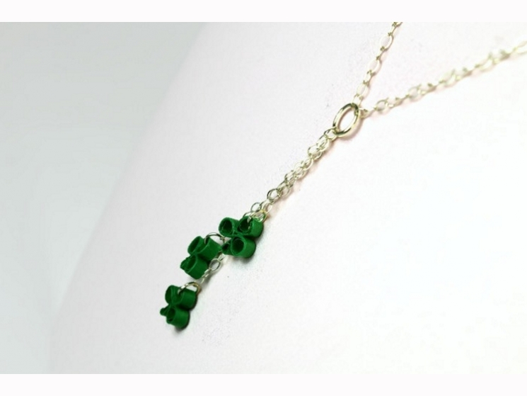 irish jewelry, sterling silver necklace, three leaf clover necklace