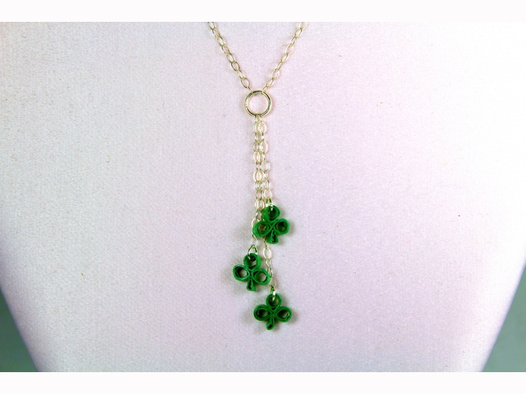 clover y necklace, sterling silver clover, sterling silver shamrock, tiny clover