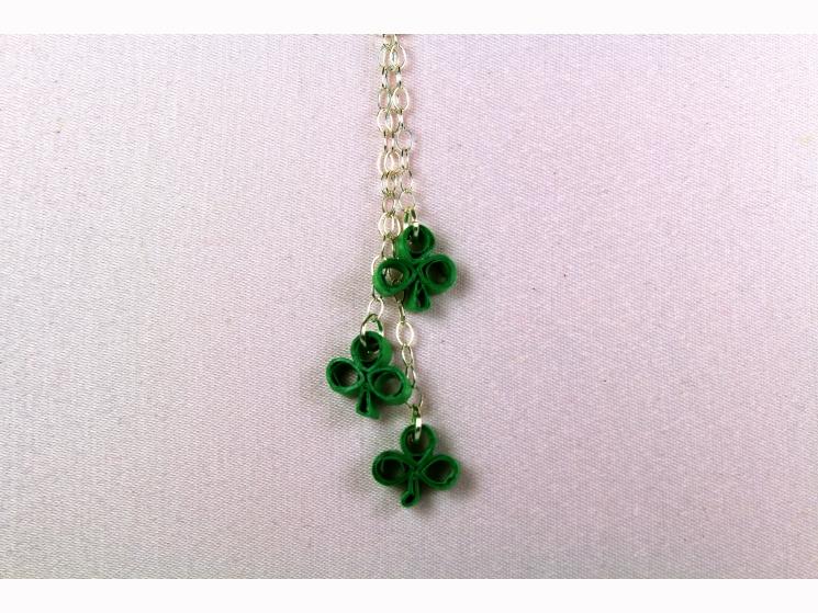 three shamrock necklace, shamrock drop necklace, shamrock y necklace