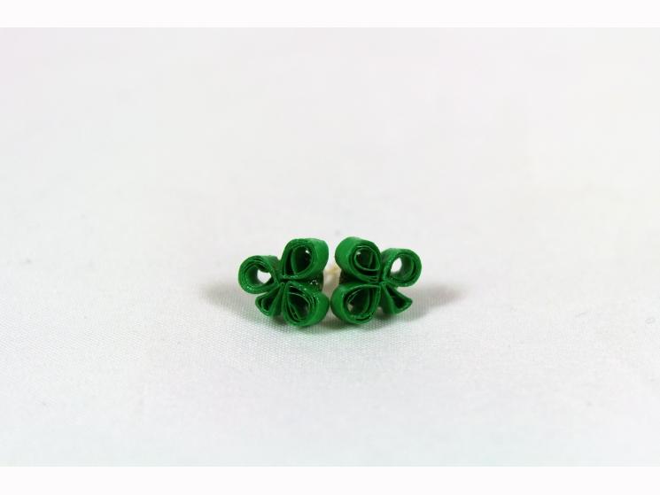 irish shamrock earrings, irish shamrock studs, three leaf clover, paper quilling