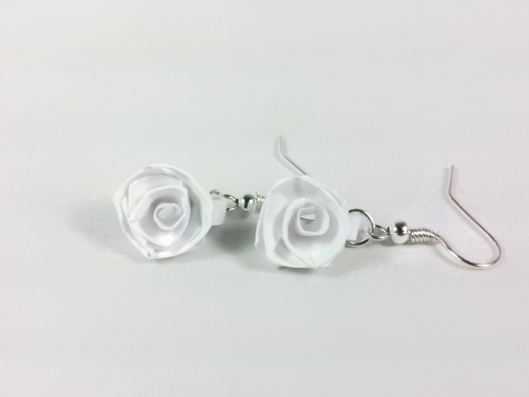 white rose earrings, pink rose earrings, purple rose earrings, origami roses