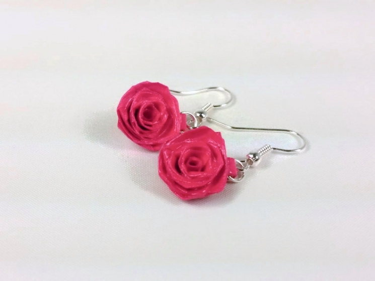 paper quilling roses, rose dangle earrings, dangle rose earrings, rose jewelry
