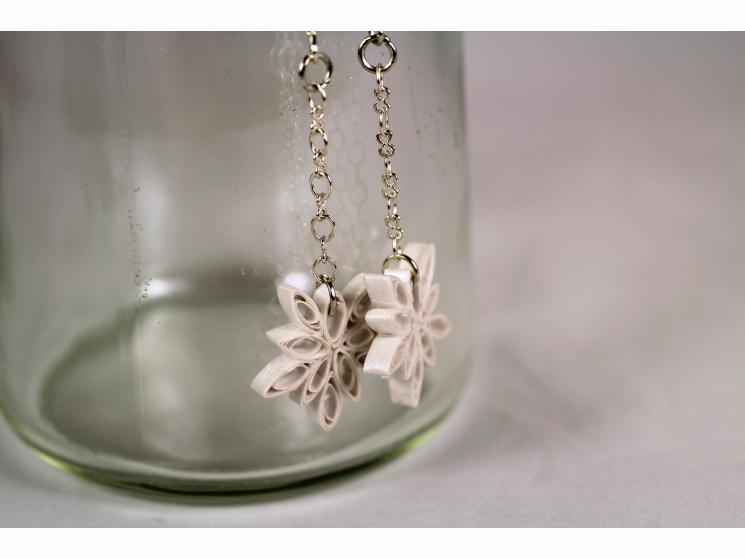 first anniversary gift, winter earrings, winter jewelry, long snowflake earrings