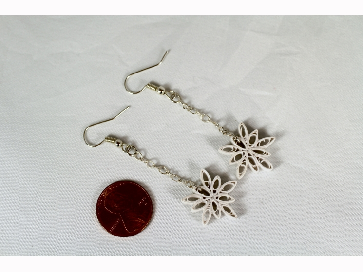handmade snowflake jewelry, ecofriendly earrings, paper anniversary gift