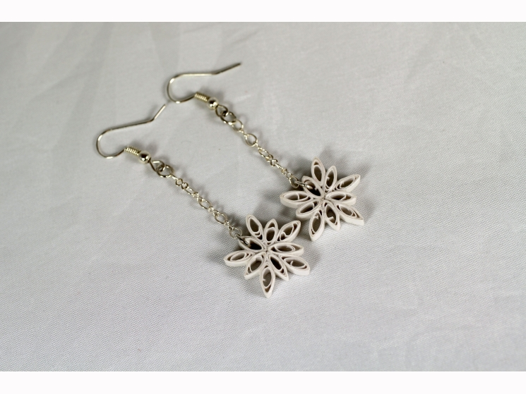dangle snowflake earrings, snowflake earrings, paper quill snowflake earrings