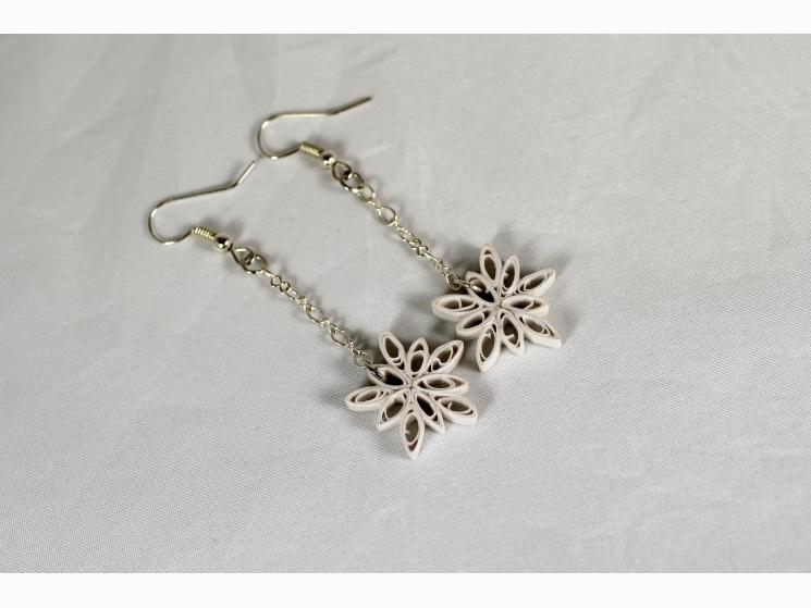 dangle snowflake earrings, snowflake earrings, paper quill snowflake earrings