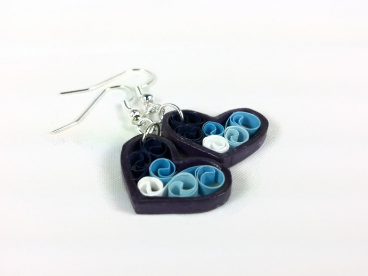 blue filigree, blue heart earrings, purple heart earrings, handmade earrings