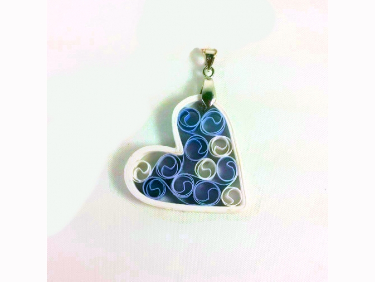 first anniversary gift  paper heart jewelry, blue heart, bridesmaid gift