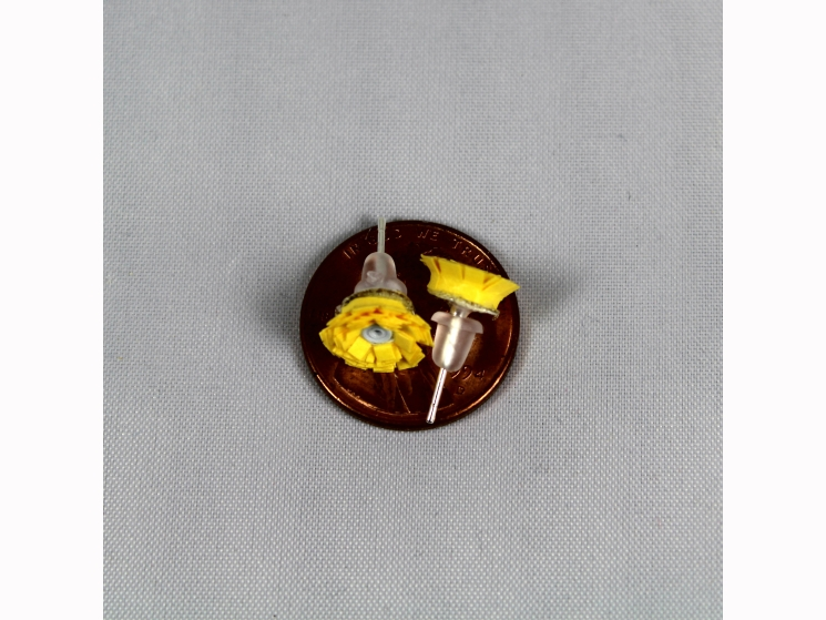 paper flower, yellow flower earrings, yellow flower studs, little flowers