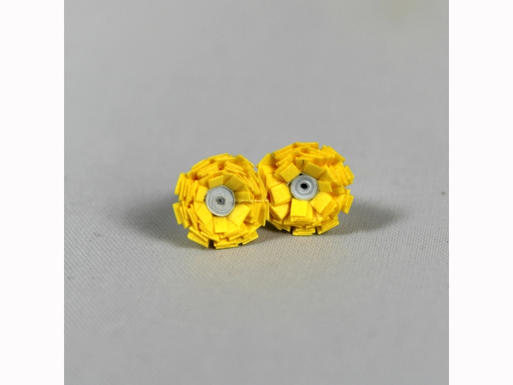 mini flower, yellow paper flower, paper flower earrings, paper flower studs