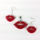 red lips earrings, red lips necklace, red lips pendant, red kiss earrings