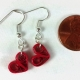 paper quill earrings, red heart earrings, quilling jewelry, whimsical jewelry