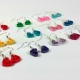 small hearts, many colors, wedding colors, simple earrings, minimal earrings