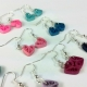 minimal jewelry, unique earrings, unique jewelry, pink hearts, blue hearts