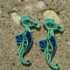 paper quilled seahorse earrings, beach earrings, paper seahorse, paper earrings