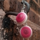 shades of pink, handmade earrings, handmade dome earrings, dangle dome earrings