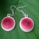pink earrings, ecofriendly earrings, eco chic earrings, pink and white