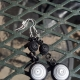 black and white earrings, long dangle earrings, long earrings, quill earrings
