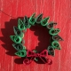 Christmas wreath, wreath pendant pin, Christmas jewelry, paper quillled wreath