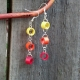 ombre paper dangle chain earrings, dangle chain earrings, paper quilled earrings