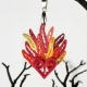 flaming heart pendant, sacred heart pendant, paper quilling heart necklace