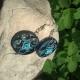 blue wedding earrings, paper flower, blue flower earrings, blue rose earrings