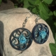 navy blue filigree earrings, round earrings, small earrings, something blue