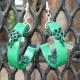 Irish earrings, half hoop earrings, open hoop earrings, quilling shamrocks