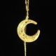 paper quilled gold moon necklace, gold crescent necklace, quilling necklace