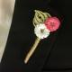 flower pin boutonniere, mens wedding flower, groom wedding, wedding keepsake