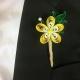 yellow paper boutonniere, yellow sorrel, paper frangipani, mens wedding flower