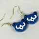 cubs earrings, cubby bear earrings, bear earrings, blue bear earrings, blue cubs