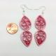 pink dangle earrings, 1st anniversary gift, paper jewelry, pink drop earrings