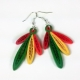 paper earrings, quilled feathers, hawks feathers, hawk feathers, reggae colors