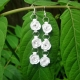 quilled rose earrings, dangle flower earrings, flower drop earrings, handmade