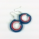 Chicago girl, quilled C, quilling earrings, red white and blue earrings