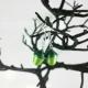 colorful acorns, paper earrings, handmade acorns, handmade jewelry, sage green