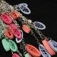 watermelon, sea foam green, dangle chain, leaves earrings, feather earrings