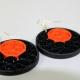 black dangle earrings, paper quilling earrings, orange moon, handmade earrings