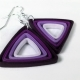 paper quilled earrings, paper triangle, triangle earrings, yellow triangle