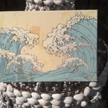 waves artwork, beach art, ocean waves, cotton anniversary, 2nd anniversary gift
