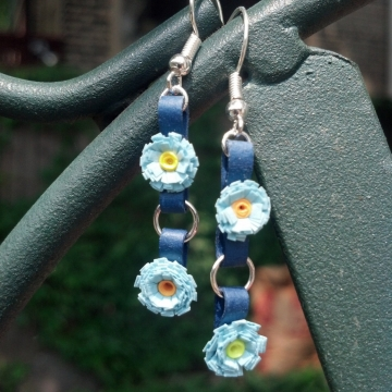 paper quilled flowers, blue flower earrings, tiny blue flowers, paper earrings