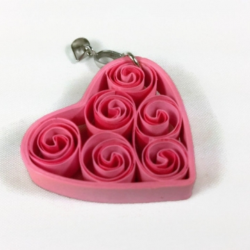 pink heart pendant, paper filigree jewelry, heart necklace, paper quilling