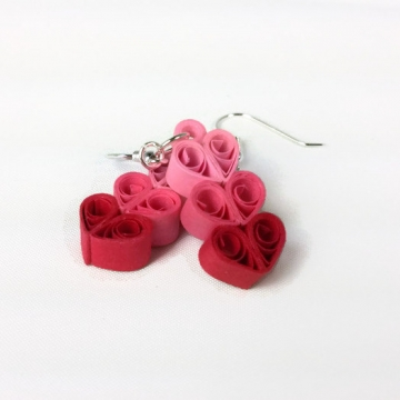 three hearts earrings, heart earrings, paper quilling heart, heart jewelry