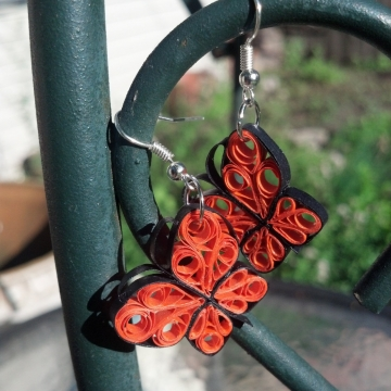 monarch butterfly earrings, paper quill butterfly earrings, paper quill monarch