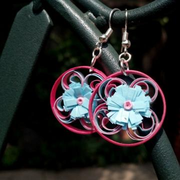 pink and blue earrings, blue daisy earrings, paper filigree earrings